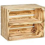 Kistenkolli Altes Land® flambé/Flamboyant Solide Cageot à Fruits comme étagère Plaque intermédiaire/Planche Milieu Semelle Environ 49 x 42x31 cm/Boîtes de Pommes Caisse à vin Boîtes en Bois en