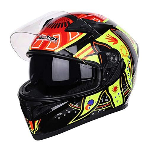 MISJIA Motorradhelm Helm Helm Herren-und Damenhelme voller Gesichtshelme mit voller Überlagerung Vier Seasons Lokomotiv-Rennhelm,A,XXL(62~63) cm