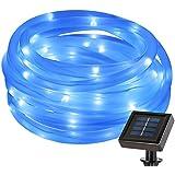 LE Manguera de Luces LED Solar Exteriores Sensor de luz Resistente al agua Decoración de jardín, terraza, fiestas, Azul (5m)
