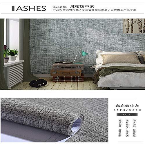Selbstklebende tapete wasserdicht einfarbig aufkleber schlafzimmer wohnzimmer dekoration tapete grau uni wandaufkleber 0,6 mt * 10 mt leinen asche 60 cm