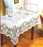 Rectangle Vinyl Lace Table Cloth Easy Clean Embossed White Home Decorations