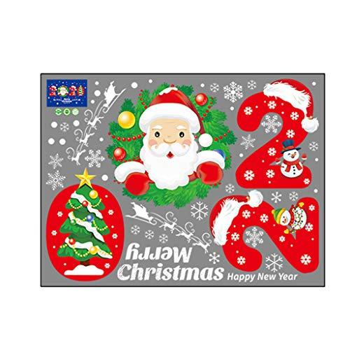 Luccase PVC Wandaufkleber 60x45cm Mehrfarbig Karikatur Schneemann Santa DIY Abnehmbar Fenster Sticker Zuhause Dekor Sticker 2020