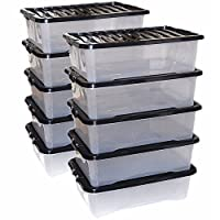 CrazyGadget® 32L 32 Litre Large Big Plastic Storage Clear Box Strong Stackable Container - Made In U.K. - Pack of 10