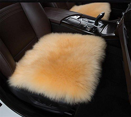 GAOFEI 18 Zoll luxuriöse Schaffell Lange Wolle AutoSitzbezüge Stuhl Kissen, Camel