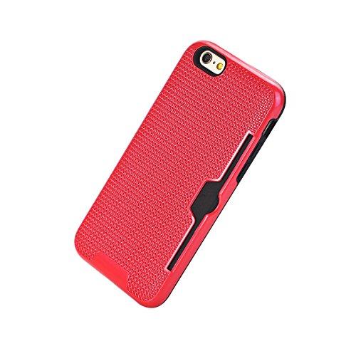 """MOONCASE iPhone 6 Plus/iPhone 6s Plus Coque, Dual Layer Hybrid Anti-rayures Protection Housse Card Slots Durable Armure Defender Étuis Case pour iPhone 6 Plus/6s Plus 5.5"""" D'or Rouge"""