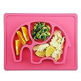 Baby Tischset,Silikon Rutschfester Baby Teller für Baby Kleinkind und Kinder,kinderteller passend für die meisten Hochstuhl-Tabletts-26 x 20 x 3 cm