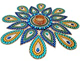 #10: KRIWIN® Handicraft Rangoli 17 pcs Set 22 inch Dia- Jewel Stone Decorations and Blue, Golden Accents on Clear Acrylic Base with T Light Candle Holder in The Center