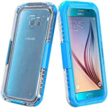 Semoss Cristal Claro Transparente Funda Impermeable Carcasa para Samsung Galaxy S6 Edge G925 Submarine Waterproof Acuatica Sumergible Protectora Bumper Hard Case Cover - Azul