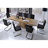 Lux Furniture UK Milano Solid Oak Dining Table Set with 8 Veroni Chairs
