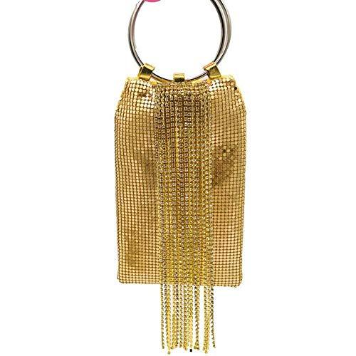 Nuanxin Schillernde Goldene Kristallquastendamenaluminium-Abendgeldbörse, Cocktailpartybeutel, Beiläufige Wilde Handtasche U10
