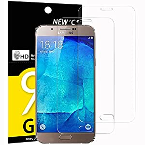 Pack Gehärtetem Glas Samsung Galaxy A8, Displayschutzfolie new' C® aus gehärtetem Glas Screen Protector Film Ultra robust (0,33mm HD Hohe Transparent) für Galaxy A8