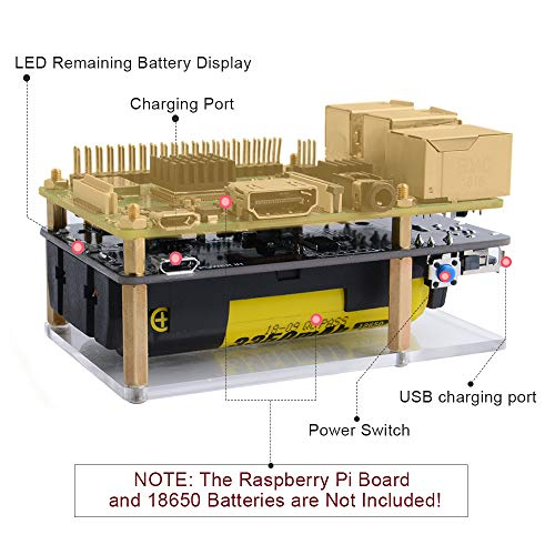 GeeekPi Mini UPS Stromversorgung 2PCS UPS 18650 Batterieladegerät Power Bank mit LED-Anzeige((25{e6be3badfc7d2e51988d582eeba81b830b8fb2c3eae4b30799ba54c70cf5852a} pro Schritt),Ausgangsüberstromschutz für Raspberry Pi 3B / 3B + (Batterie Nicht enthalten)