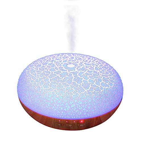 DIKLA 400ML Ultraschall Ätherische Diffusor arbeitet mit Alexa und Umists Nebel Luftbefeuchter Ätherisches Öl Diffusor für Zuhause, Büroräume,Tattoo Studio (12C-2)