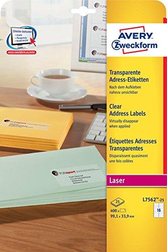 Avery Zweckform L7562-25 Adress-Etiketten (A4, 400 Stück, 99.1 x 33,9 mm) 25 Blatt transparent (S Akte X)