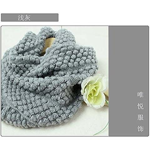 MEICHEN-días de otoño e invierno de lana tejida de maíz bib abarca los dos primeros anillo bufanda mujer,gris claro