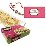 Delight Foods Bhikharam Chandmal Soan Papdi | Rakhi Gift For Brother| Rakhi | Gift Card | Rakhi Sweets |- 400gm