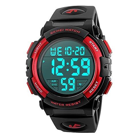 BesWLZ Herren Armbanduhr Digital Uhren Militär Outdoor Sport Uhr mit LED Analog Alarm Stoppuhr Wasserresistent Herren Uhren Rot