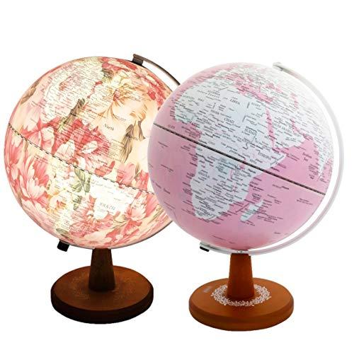 Exerz EXMS-10221SWP17 25cm in rosa gefarbeten Globus mit LED-Licht, versteckter Aufdruck von Blumenbildern innen, wenn beleuchtet. Verpackung in hochwertiger Kraftbox, ideal zum Verschenken.