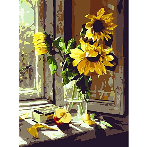 zlhcich Blumenölgemälde dekorative Fensterbank Sonnenblume 40 * 50 (mit Rahmen) -
