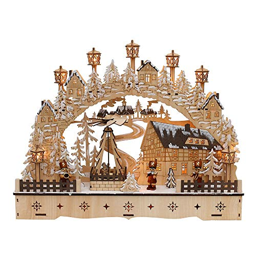 Dekohelden24 LED Holz Schwibbogen mit bewegter Weihnachtspyramide, Motiv: Bergmänner, L/B/H ca. 45 x 12 x 35 cm, für Batterie- oder Adapterbetrieb.