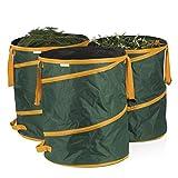 PRIMA GARDEN Gartenabfallsack 3er-Set | Je 160 l | Reißfest | Wasserfest | Pop-up-Funktion | Klettverschluss | Ideal für Laub, Gras und Beschnitt | Inkl. Tragetasche