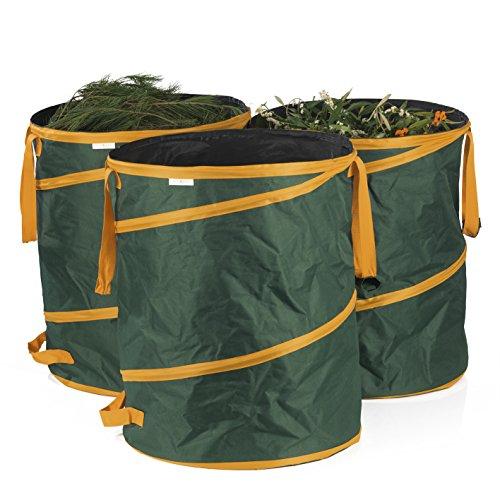 PRIMA GARDEN Gartenabfallsack 160 l | 3er Set | Pop-up Funktion | Reißfest | Wasserabweisend | Klettverschluss | Ideal für Laub, Gras & Beschnitt | inkl. Tragetasche zum Verstauen | Premiumqualität