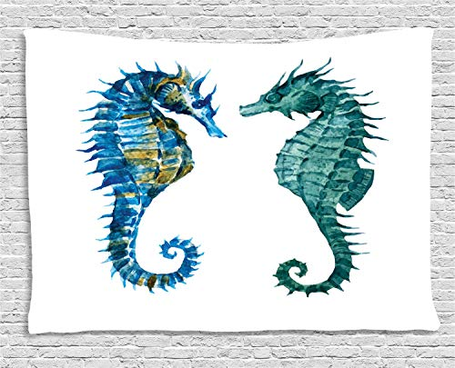 VTXWL Seahorse Tapestry, Watercolor Inspired Retro Artwork of Two Seahorse Figures, Wall Hanging for Bedroom Living Room Dorm, 80 W X 60 L Inches, Dark Teal Royal Blue Pale Coffee Royal Blue Round Table Cover