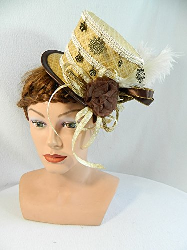 Midi Zylinder creme braun Damenhut Gothic Fascinator Headpiece Anlasshut Steampunk Brauthut Cocktail Derby Convention