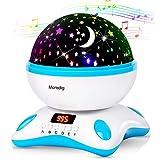 Moredig Sternenhimmel projektor lampe, musik nachtlicht lampe 360° Grad Rotation mit LED-Anzeige, 8 romantische licht, perfektes geschenk für babys, kinder, geburtstage - Blau