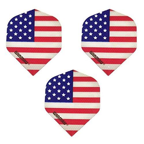 Winmau Mega 3 Stück American Flag Stars & Stripes America 75 Mikron Strong Standard Dart-Flights -