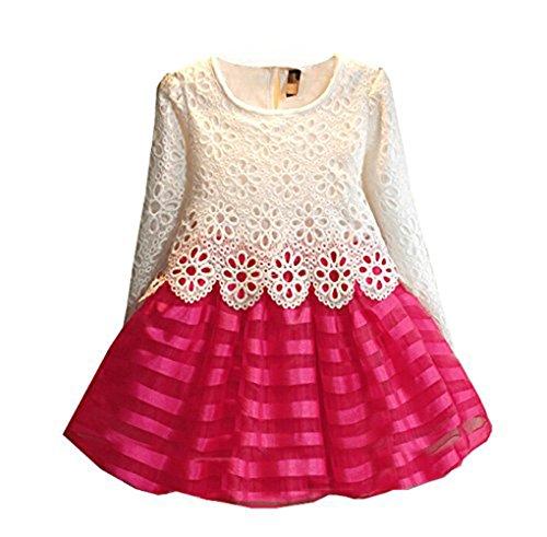 WEONEDREAMParty Dress neonate con maniche lunghe a righe Crochet Fiore Patchwork (3T, bianco rosa (Neonate Di Colore Rosa A Righe)