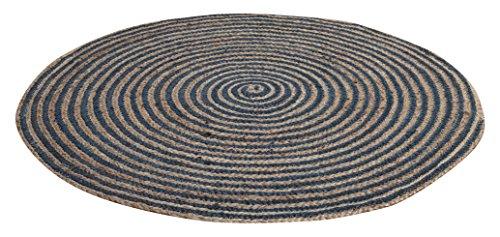 Tejido a mano de hogar chickidee arena y trenzado yute alfombra redonda, azul, grande