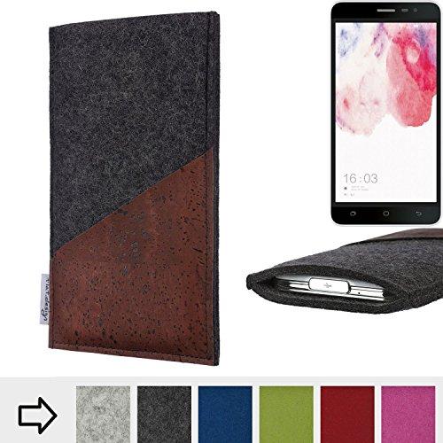 flat.design Handyhülle Evora mit Korktasche für Hisense F20 Dual-SIM - Schutz Case Etui Filz Made in Germany in anthrazit mit Korkstoff braun - passgenaue Handy Tasche für Hisense F20 Dual-SIM