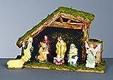 10 Stück Krippe mit Porzellan handgemalte Figuren und Holzleiter