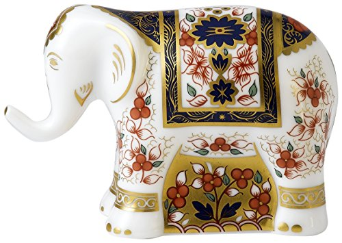 royal-crown-derby-imari-bebe-elephant-presse-papiers-en-cristal-acier-inoxydable-multicolore