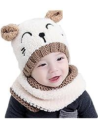2e65190d7651 MILEEO Unisexe Bébé Fille Garçon Ensemble en 2 PCS Bonnet Forme Chat Mignon  + Écharpe en Tricotage Crochet pour Bébé de 0-4ans pour…
