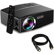 Yaufey 1800 Lúmenes Mini LED Proyector con HDMI Cable, Multimedia Home Cinema Soporte PC portatil Smartphone Xbox Portable para cine en casa Teatro Entretenimiento y juegos, Negro