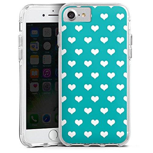 Apple iPhone 6s Bumper Hülle Bumper Case Glitzer Hülle Herzchen Muster Pattern Bumper Case transparent
