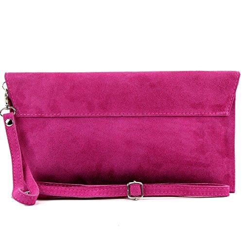 modamoda de–Pochette italiana in pelle, con passante, da donna, camoscio, T106 Pink