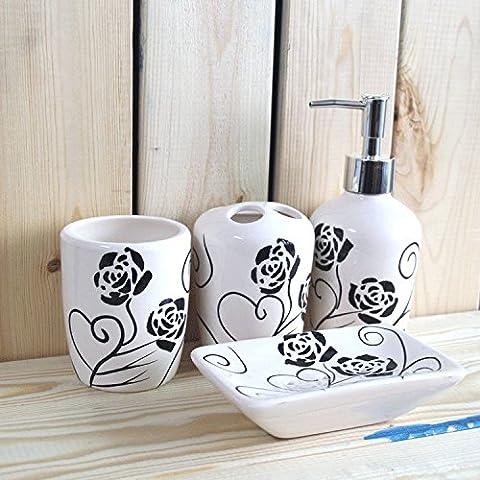 QUEEN'S La Rose autocollants d'une baignoire en céramique 4 pièces Kit Créatif kit salle de bain le mariage d'articles de toilette