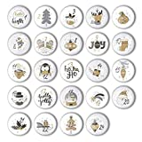 Adventskalender Zahlen Buttons (1-24) zum selber Basteln von DIY-Weihnachts-Kalendern und zum Dekorieren (37 mm)