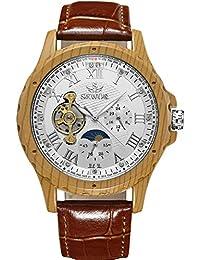 SEWOR reloj para hombre Tourbillon automático grano de madera caso fase de la luna esfera blanca mecánico reloj de pulsera de piel marrón