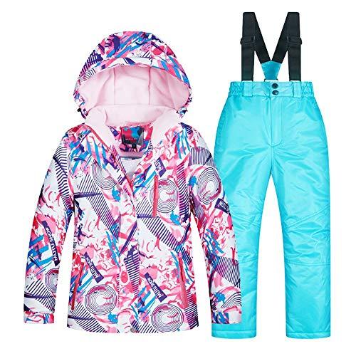 Yzibei Wasserabweisender, winddichter Skianzug für Kinder Skianzug-Mädchen-Anzug der Winter-im Freienkinder Starkes warmes Furnier-Blatt (Farbe : C4+Sky Blue Pants, Größe : 14 Yards) - Für Mädchen-größe 14 Ski-jacken