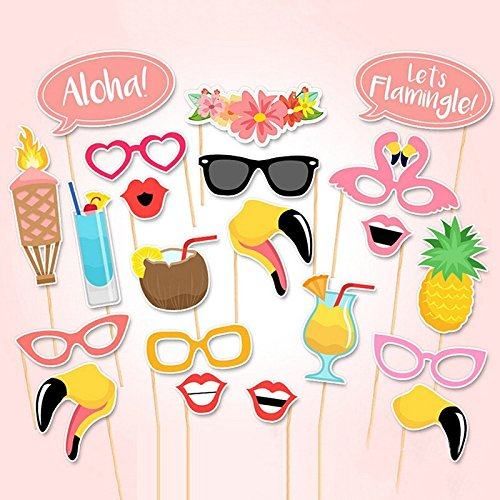Kostüme Mottoparty Urlaub (sevenmye 21-teilig Colorful Requisiten Stick Schnurrbart Photo Booth Party Beach Vacation Hawaii Seaside Hochzeit Party Favor & Vintage lieben verkleiden Kostüm)