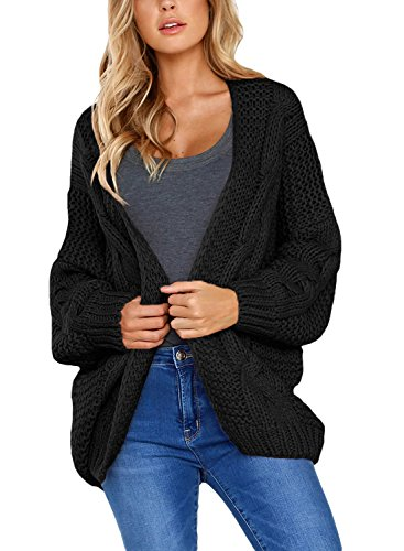 Aleumdr Strickjacke Damen Grobstrick Strickmantel strickcardigan Damen Herbst Winter Casual Open Front Sweater Cardigan Cover Up Patchwork Outwear S-XXL, Schwarz, Small(EU34-36)
