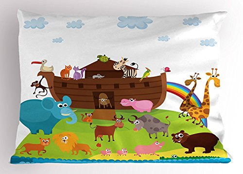 Noah's Ark Pillow Sham, Various Safe Animals Two of Every Kind Boarding Noah's Ark Clip Art Design Print, Decorative Standard Size Printed Pillowcase, 20X30 Inches, Multicolor