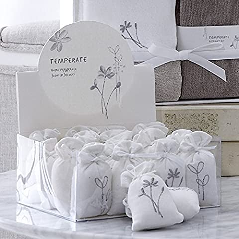 Sashi Bed Linen Cotton Linen Embroidered Scented Sachets, White, 20 Pack