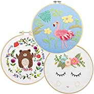 Lazeny 3x Embroidery Starter Kit with Unicorn Flamingo Pattern,Full Range of Stamped Embroidery Kits with Inst