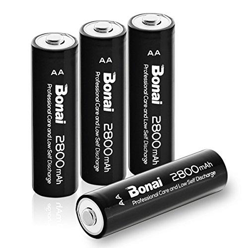 BONAI alta capacità Pile Ricaricabili AA Batterie Stilo 2800mAh Ni-MH 1200 cicli (confezione da 4)
