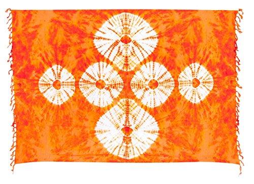 Lila Bestickt Rock (Sarong Pareo Wickelrock Strandtuch Tuch Wickeltuch Handtuch - Blickdicht - ca. 170cm x 110cm - Orange Rot mit Batik Motiv Tie Dye Handgefertigt inkl. Kokos Schnalle in Fischform)